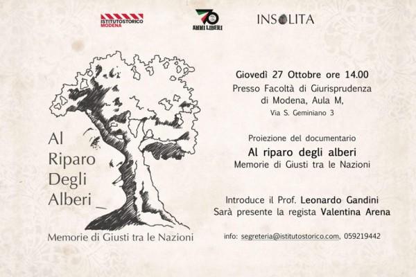 """""""Al riparo degli alberi"""", proiezione a Giurisprudenza a Modena"""