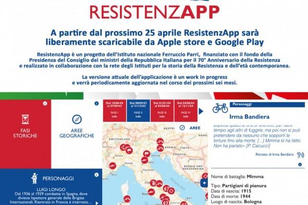 ResistenzApp scaricabile dal 25 aprile