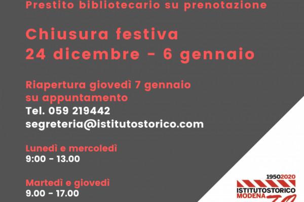 Chiusura festiva dell'Istituto storico di Modena