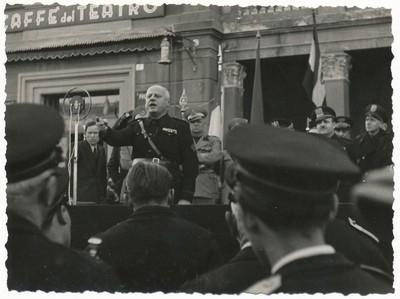Discorso di Enzo Ponzi a Mirandola, in occasione delle celebrazioni della fondazione del Fascio di combattimento, marzo 1941